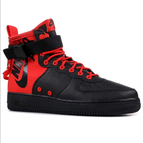9618950c Nike Shoes | Sf Af1 Mid Size 9 Mens Blackred New | Poshmark